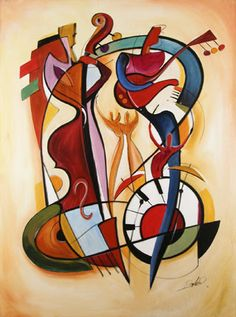 I love the round shapes in this Kandinsky painting. If you look closely, you can see that the shapes are not random: it clearly looks like instruments and people playing them. Arte Jazz, Jazz Art, Arte Pop, Abstract Expressionism, Abstract Art, Cubist Art, Abstract Paintings, Abstract Landscape, Wassily Kandinsky