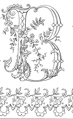 Ideas For Embroidery Letters Alphabet Initials Embroidery Letters, Ribbon Embroidery, Embroidery Stitches, Embroidery Designs, Colouring Pages, Adult Coloring Pages, Coloring Books, Creative Lettering, Hand Lettering