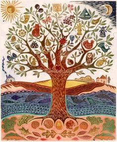 The Tree of Life - Hannah Firmin Art And Illustration, Frida Art, Art Populaire, Tree Quilt, Inspiration Art, Wow Art, Jewish Art, Motif Floral, Tree Art