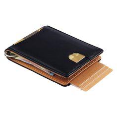 be1b470fba Portafoglio intelligente vera pelle con fermabanconote e tessere estraibili  con cinturino, portafogli slim porta carte