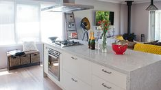 House Rules' homeowners Carole & Russell were blown away with the home transformation which featured the Caesarstone Bianco Drift for their kitchen island. Kitchen Interior, Kitchen Design, Kitchen And Kitchenette, Waterfall Island, U Shaped Kitchen, House Rules, Kitchen Countertops, Home Kitchens, New Homes