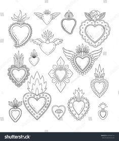 Sacred mexican heart set Stock Vector - can find Mexican art and more on our website. Embroidery Hearts, Embroidery Patterns, Mexican Embroidery, Folk Embroidery, Coeur Tattoo, Tattoo Diy, Tattoo Hand, Sacred Heart Tattoos, Embroidery Designs
