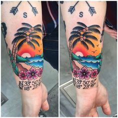 Traditional beach palm tree coordinates tattoo by Andrea Revenant