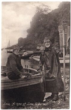 1907 LOOE Fishermen Cornwall Postcard | looks like my great great grandfather Henry Rostock