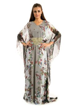 Golden Rose Grey Flowers $60.00 http://zafirahfashion.com/shop/4584099183/golden-rose-grey-flowers/8008798 Grey colour with flower print chiffon dress  Free size Hem hits the floor  Long sleeves V-shaped neckline  Traditional oriental style  Manufactured in UAE       Hand wash, dry clean