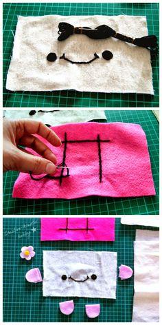 Step by step DIY: Hannari Tofu Plush click here to print this free pattern  / Lépésről lépésre Kattints ide, nyomtasd ki! ( ingyen szabásminta) csináld magad :)