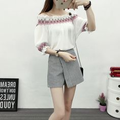 >> Click to Buy << 2017 New Summer Fashion Striped A Word Shoulder Garment + Irregular Vertical Divided Skirts Suits Blouse Shirt White Pink 6701 #Affiliate