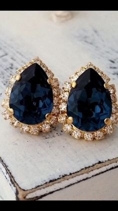 stylish gold and navy blue wedding earrings in rustic and romantic way/ navy blue bridal earrings/ stylish shade of blue wedding earrings Gold Wedding Jewelry, Black Gold Jewelry, Bridal Jewelry, Blue Earrings, Teardrop Earrings, Sapphire Earrings, Statement Earrings, Gold Necklace, Bridesmaid Earrings
