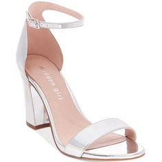 Madden Girl Bella Two-Piece Block Heel Sandals ($40) ❤ liked on Polyvore featuring shoes, sandals, silver metallic, ankle strap sandals, ankle strap shoes, block heel ankle strap sandals, block-heel sandals and madden girl shoes