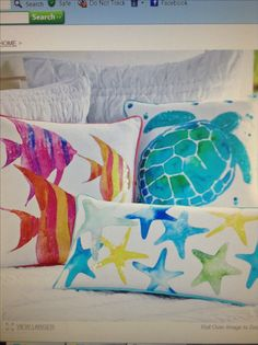 Sea Creature Watercolor Pillow Cover turtle 亀 ヒトデ starfish Beach Room, Beach Art, Teal Beach Bedroom, Ocean Bedroom, Beach Crafts, Beach House Decor, Fabric Painting, Watercolor Paintings, Beach Themes