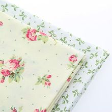 Cotton Fabric For Sewing Material For DIY handmade hometextile For Dress Curtain Green bows and flowers20x25cm(China (Mainland))