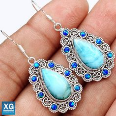 Larimar-Dominican-Republic-925-Sterling-Silver-Earrings-Jewelry-SE1057