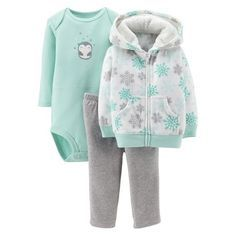Just One You™Made by Carter's® Newborn Girls' 3 Piece Snowflake Penguin Set - Aqua Baby Outfits, Newborn Girl Outfits, Toddler Outfits, Newborn Girls, Little Girl Fashion, Kids Fashion, Baby Kids Clothes, My Baby Girl, Kind Mode