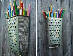 38 Clever Ways To Repurpose Old Kitchen Stuff: Grater pencil holder.