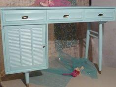 Retro MoD Desk/Vanity PAINT to ORDER Poppy Cottage Vintage. $330.00, via Etsy.