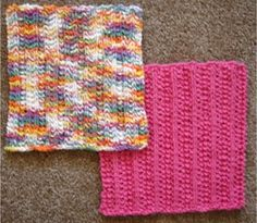 Frugal Knitting Haus - Easy 2 Row Dishcloths, $1.50 (http://frugalhaus.com/easy-2-row-dishcloths/)