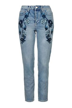MOTO Blue Embroidered Straight Leg Jeans - Topshop USA