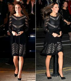 Pregnant Kate Middleton accentuated her baby bump in a black knit flare dress at the Autumn Gala Evening dinner and reception in London on Thursday, Oct. 23 -- see the picture
