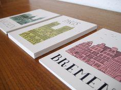 """Postkartenserie """"Goldstücke"""" (Set à 3 Stück) mich echt Bremischen Highlights von der Bremer Binenschmiede. Zu bestellen über Dawanda! In ihrem virtuellen Lädchen gibt es noch mehr Schönes mit hanseatischem Flair!"""