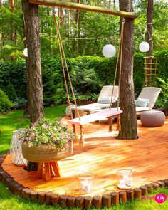 23 Amazing Sun Deck Ideas To Inspire Your Own Backyard Getaway Backyard Patio Designs, Backyard Landscaping, Pergola Designs, Wooded Backyard Landscape, Backyard Retreat, Backyard Pergola, Pergola Ideas, Landscaping Ideas, Backyard Ideas
