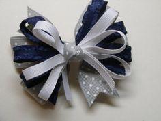 UNIFORM ~ Navy Blue with Gray Grey Swiss Polka Dot Hair Bow by HareBizBows,