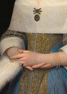 detail from Portrait of Susanna Reael (Portret van een jonge vrouw), Isaack Luttichuys, 1656 Classic Paintings, Old Paintings, Historical Costume, Historical Clothing, Fashion History, Fashion Art, 17th Century Fashion, Detailed Paintings, Victorian Art