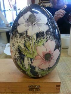 Easter egg with dark blue lustre