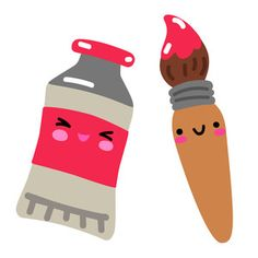 Silhouette Design Store: Kawaii Paint Tube And Paint Brush Kawaii Doodles, Cute Doodles, Kawaii Drawings, Easy Drawings, Cartoon Cupcakes, Silhouette Design, Silhouette Studio, Cartoon Monsters, Dibujos Cute