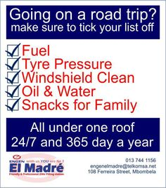 Your vehicle is packed, kids are in their car seats and your wife is busy setting up the GPS, now all you need to do is fill up with fuel and you are on your way to your holiday destination.  Visit El Madre Motor - Engen too ensures you and your vehicle are road trip ready, top up with fuel, check tire pressure, get your windshields cleaned, check your vehicle's oil and water and maybe get a few snacks for the long road ahead.  All and more available at our store #elmadreengen #checklist #engen Filling Station, Oil Water, Holiday Destinations, Car Seats, Vehicle, Road Trip, Creativity, Cleaning, Snacks