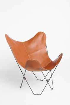 Shop UO Lux Leather Butterfly Chair at Urban Outfitters today. We carry all the latest styles, colors and brands for you to choose from right here. Urban Outfitters, Leather Butterfly Chair, Metal Chairs, Leather Chairs, Leather Furniture, Modern Chairs, Mid-century Modern, Rustic Modern, Furniture Design
