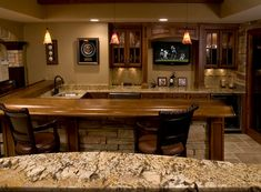 Cool Basement Bar Ideas | ... Looking Bar That Has Beautiful Pendant Lights  And