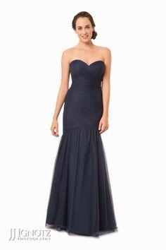 Bari Jay look book - strapless, long, black bridesmaid dress