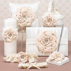 Love Blooms 6 piece wedding ceremony accessories set features the flower girl basket, ring bearer pillow, guest book and pen set, unity candle and keep and toss garter set Ivory Wedding, Wedding Sets, Wedding Guest Book, Wedding Themes, Wedding Ceremony, Wedding Day, Chic Wedding, Garter Wedding, Wedding Favors