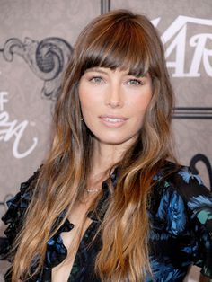 Mrs. Timberlake rocks all the trends! We love her blunt bangs and boho ombré waves. #JessicaBiel