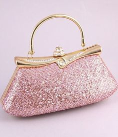 pink and gold crystal purse ♥ clutch handbag woman evening style fashion designer pink girl girly item accessory