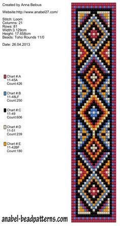 Embroidery Bracelets Patterns Bead loom pattern by Tesa Marris Loom Bracelet Patterns, Seed Bead Patterns, Bead Loom Bracelets, Weaving Patterns, Jewelry Patterns, Mochila Crochet, Motifs Perler, Beaded Banners, Embroidery Bracelets
