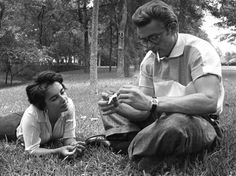 James Dean the Giant with Elizabeth Taylor in a park