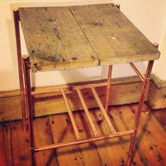 Copper pipe and reclaimed victorian floorboard side table. On sale soon from www.copperandwood.co.uk a new London based bespoke furniture company. Follow @copper_wood on Instagram and go to the website to sign up and join their journey.