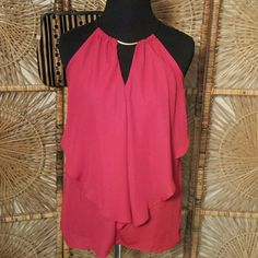 Blouse Red rayon  halter blouse with tie at neck and gold detail. Charlotte Russe  Tops Blouses