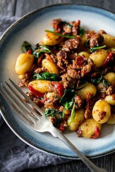 Chorizo & red peppers w/ spinach gnocchi
