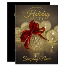Black Gold Ornament Corporate Holiday Party Invitation Holiday Cards, Christmas Cards, Holiday Gifts, Christmas Tree, Christmas Ornaments, Holiday Decor, Gold Ornaments, Christmas Party Invitations, Zazzle Invitations