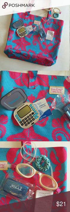 SALE Lg Lilly Pulitzer tote w/ bonus workout gear Large Lilly P for Estee tote, clean and in excellent condition. Comes with a never-used Weight Watchers Points Plus calculator with user guide, a matching new in package step pedometer with instructions (skip the FitBit!), and matching pink Speedo swim goggles in excellent condition.  You are paying mostly for the bag and matching goggles. Lilly Pulitzer Bags Totes