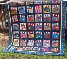 Quilt Inspiration: Free pattern day! Scrappy Happy Houses quilt, free pattern by Bonnie Hunter at Quiltville