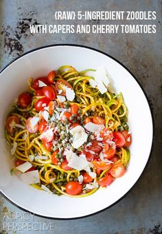 Treat your tastebuds and your skin to a delicious dinner like this raw 5-ingredient zoodles with capers and cherry tomatoes on ASpicyPerspective.com