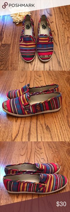 Vans Aztec Slip Ons Colorful Aztec print Vans slip ons. Size 7.5. Excellent condition. Only worn a few times. There are some small scuff marks on the white parts of the shoes (see pics), but they are minor. Vans Shoes Sneakers