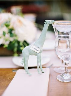 Animal figurines to hold place cards.| Floral – Petals and Lucy | Day-of Coordination – Sterling Weddings and Events | Calligraphy – Phil Bettany Graphic Design | photography by http://brushfirephotography.com/