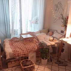 Home Decored Cozy Bedroom Dorm Room Ideas Cute Room Decor, Pretty Room, Aesthetic Room Decor, Cozy Room, Dream Rooms, My New Room, House Rooms, Room Interior, Room Inspiration