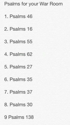 Bible Verses to Live By:Psalms for your war room Prayer Closet, Prayer Room, My Prayer, Prayer Wall, Prayer Scriptures, Bible Prayers, Bible Verses, Bible Psalms, Bibel Journal