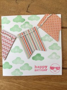 Handmade birthday card using stamping, embossing & patterned paper Stick Figures, Handmade Birthday Cards, Stamping, Card Making, Happy Birthday, Butterfly, Activities, Paper, Creative