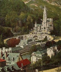 Lourdes France  Vintage French Postcard by ChicEtChoc on Etsy, $4.50